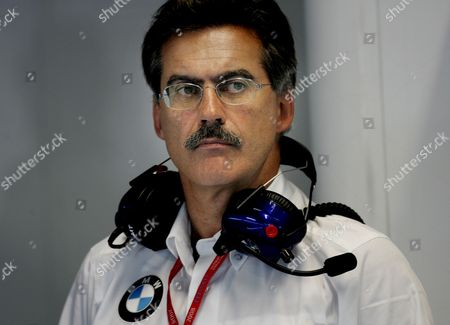 German Dr Mario Theissen Bmw Motorsport Director of Bmw Sauber is Seen in the Teams Garage During the First Practice Session at the Italian Formula One Circuit in Monza Italy 12 September 2008 the Race Will Take Place On 14 September 2008