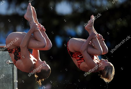 Stock Image of Monique Gladding and Megan Sylvester of England Dive During the Women's 10m Synchro Platform Final at the 13th Fina World Championship at Foro Italico Swimming Complex in Rome Italy on 19 July 2009 Italy Rome