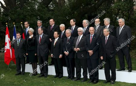 Group of Seven Finance Ministers and Central Bank Governors Line Up For a Photo Session Prior to Start of the G7 Meeting in Tokyo Japan On 09 February 2008 the Members Are (front Row L to R) Canadian Finance Minister Jim Flaherty French Finance Minister Christine Lagarde German Finance Minister Peer Steinbrueck Japan's Finance Minister Fukushiro Nukaga Italy's Finance Minister Tommaso Padoa-schioppa British Chancellor of the Exchequer Alistair Darling U S Treasury Secretary Henry Paulson and Jean-claude Juncker Luxembourg's Prime Minister and Chairman of the Eurogroup in the Back Row Are (from L-r) Bank of Canada Governor Mark Carney Bank of France Governor Christian Noyer German Bundesbank President Axel Weber Bank of Japan Governor Toshihiko Fukui Bank of Italy Governor Mario Draghi Bank of England Governor Mervyn King Federal Reserve Chairman Ben Bernanke European Central Bank President Jean-claude Trichet and Dominique Strauss-kahn Managing Director of the International Monetary Fund (imf)