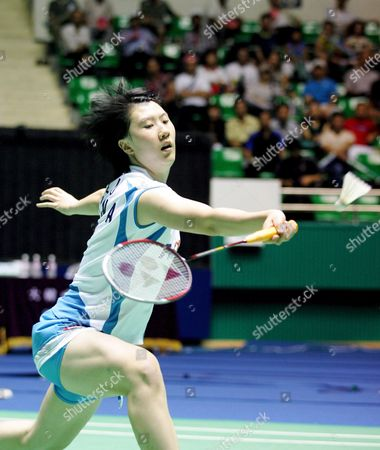 Chines Player Lu Lan Returns the Shuttlecock to German's Player Xu Huaiwen During Their Semifinal Women's Single Match in the Yonex Korea Open Badminton Championships in Seoul South Korea Saturday 26 August 2006