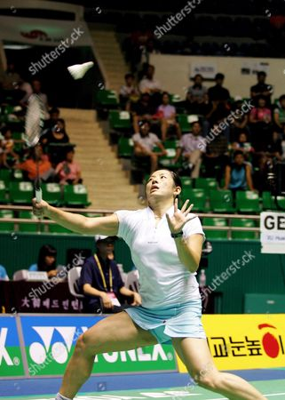 German's Player Xu Huaiwen Returns the Shuttlecock to Chines Player Lu Lan During Their Semifinal Women's Single Match in the Yonex Korea Open Badminton Championships in Seoul South Korea Saturday 26 August 2006