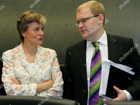 Estonia's Minister of Foreign Affairs Urmas Paet (r) Chats with Finnish Minister of Migration and European Affairs Astrid Thors (l) at the Start of the General Affairs and External Relations Council in Luxembourg 15 October 2007