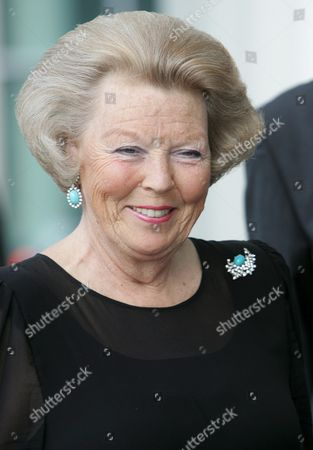 Stock Photo of Qween Beatrix of Netherlands Arrives For the Inauguration of the Philarmonic Hall Grand Duchess Josephine-charlotte in Luxembourg Sunday 26 June 2005