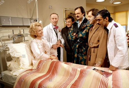 'Only When I Laugh' TV - 1980 - Gloria [Moira Lister], Thorpe [Richard Wilson], Figgis [James Bolam], Glover [Peter Bowles], Norman [Christopher Strauli] and Gupte [Derrick Branche].