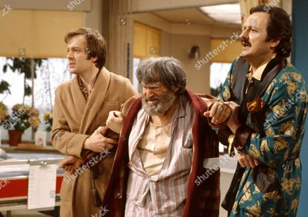 'Only When I Laugh' TV - 1980 - Norman [Christopher Strauli], Joe Perkins [Patrick Troughton] and Glover [Peter Bowles].