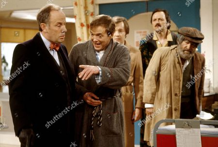 'Only When I Laugh' TV - 1980 - Thorpe [Richard Wilson], Figgis [James Bolam] Norman [Christopher Strauli], Glover [Peter Bowles] and Joe Perkins [Patrick Troughton].