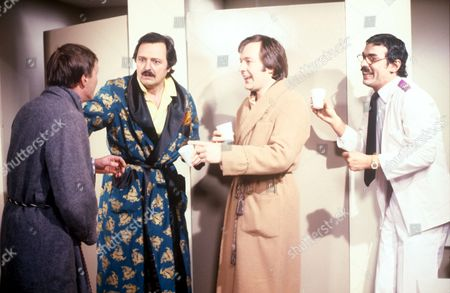 'Only When I Laugh' TV - 1980 - Figgis [James Bolam], Glover [Peter Bowles], Norman [Christopher Strauli], Gupte [Derrick Branche]