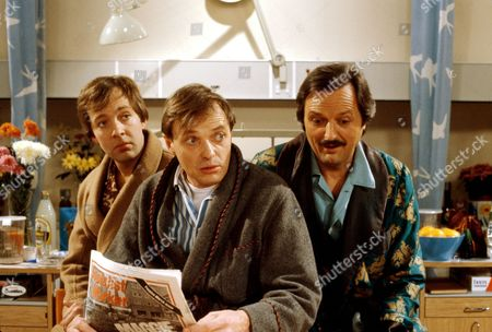 'Only When I Laugh' TV - 1981 - Norman [Christopher Strauli], Figgis [James Bolam] and Glover[ Peter Bowles]