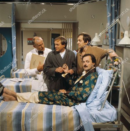 'Only When I Laugh' TV - 1982 - Dr Gordon Thorpe [Richard Wilson],  Roy Figgis [James Bolam] Norman Binns [Christopher Strauli] and Archie Glover [Peter Bowles].