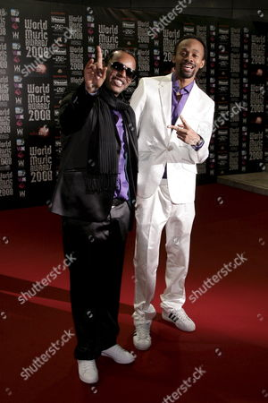 Yosef Wolde-mariam (l) and Tshawe Baqwa of Madcon Members of Norwegian Band Madcon Arrive at the 2008 World Music Awards Ceremony at the Sporting Club 'Salle Des Etoiles' in Monaco On 09 November 2008