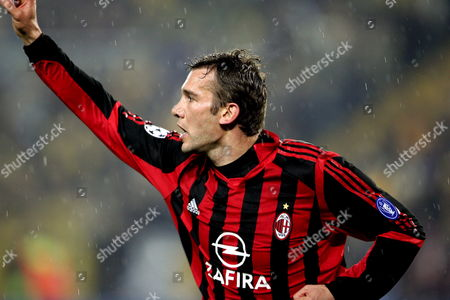 Ac Milan's Ukrainian Player Andriy Schevchenko Celebrates His Goal During Their Champions League Group E Match at Sukru Saracoglu Stadium in Istanbul Turkey On Wednesday; 23 November 2005