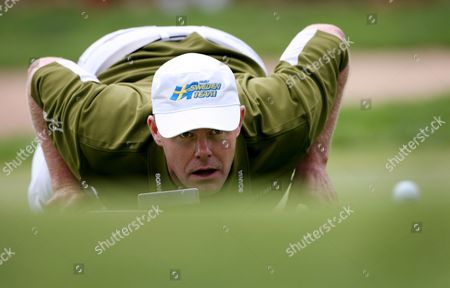 Stock Image of Joakim Haeggman of Sweden Studies a Putt During the Final Round of the 2009 Joburg Open Played at Royal Johannesburg and Kensington Golf Club in Johannesburg South Africa 11 January 2009 Haeggman Shot a Final Round of 70 For Joint 7th Position