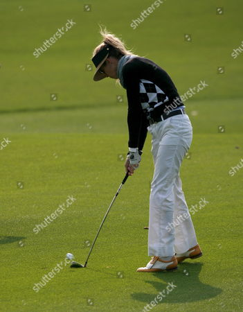 Australian Anna Rawson Hits the Ball During the Final Round of Saint Four Ladies Masters at Saint Four Golf & Resort in Jeju-island South Korea On 16 November 2008