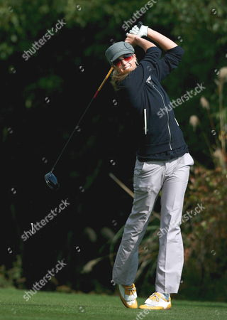 Australian Anna Rawson Hits His Tee Shot During the First Round of Saint Four Ladies Masters at Saint Four Golf & Resort in Jeju-island South Korea On 14 November 2008
