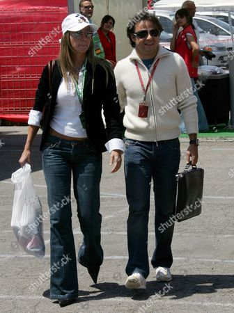 Brazilian Formula One Driver Felipe Massa (r) of Scuderia Ferrari F1 Team and His Girlfriend Rafaela Bassi Arrive at the F1 Race Track Circuit De Catalunya in Montmelo Near Barcelona Spain Thursday 11 May 2006 the Grand Prix of Spain Takes Place On Sunday