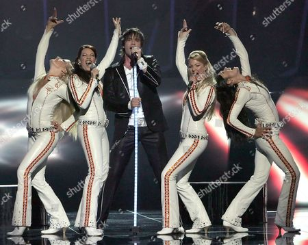 Martin Stenmarck From Sweden Performs the Song 'Las Vegas' During Dress Rehearsals For the Eurovision Song Contest in Kiev On Saturday 21 May 2005