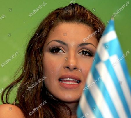 Helena Paparizou From Greece Adresses Jurnalists During Her Press Conference As She Won of the Eurovision Song Contest in Kiev Last Night Sunday 22 May 2005