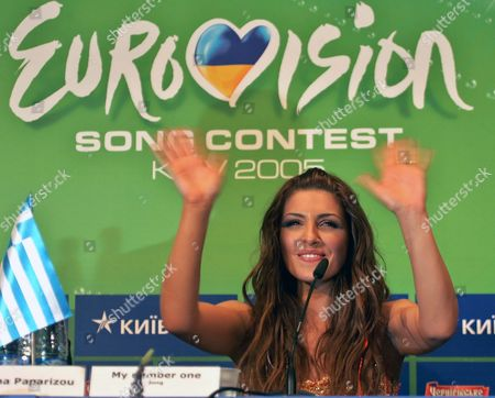 Helena Paparizou From Greece Gestures During Her Press Conference As She Won of the Eurovision Song Contest in Kiev Last Night Sunday 22 May 2005