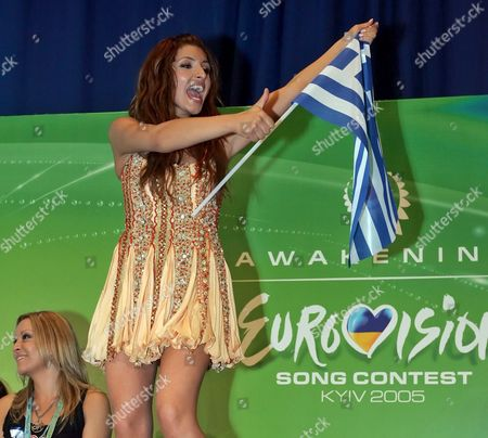 Helena Paparizou From Greece Waves Her National Flag During a Press Conference As She Won the Eurovision Song Contest in Kiev Late Saturday Evening Early Sunday 22 May 2005