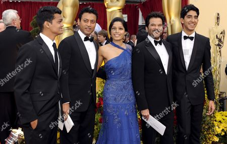 Indian Actors (r-l) Dev Patel Anil Kapoor Freida Pinto Irrfan Khan Madhur Mittal Pose Together As They Arrive On the Red Carpet For the 81st Academy Awards at the Kodak Theatre in Hollywood California Usa 22 February 2009 the Academy Awards Honor Excellence in Cinema
