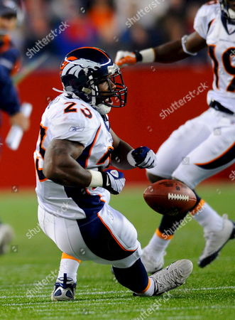 Denver Broncos Running Back Andre Hall Fumbles the Ball in the First Quarter of Their Nfl American Football Game Against the New England Patriots at Gillette Stadium in Foxborough Massachusetts Usa 20 October 2008