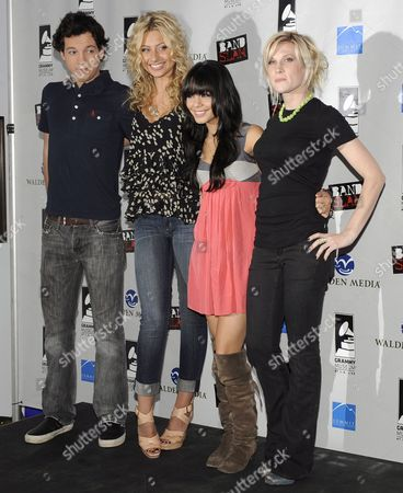(l-r) Us Actor Gaelan Connell Actresses Aly Michalka Vanessa Hudgens and Recording Artist Lucy Walsh Attend the 'Bandslam' Event at the Grammy Museum in Los Angeles California Usa 15 May 2009 During the Event Cast Members of the Upcoming Movie 'Bandslam' by Us Director Todd Graff Aly Michalka Vanessa Hudgens and Gaelan Connell Explored the Music Business Through an Interactive Educational Experience with L a County Students