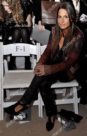 Former Call Girl of Former Ny Governor Eliot Spitzer Ashley Dupre Poses For a Picture Before the Start of the Yigal Azrouel Show at Mercedes-benz Fashion Week in New York City Usa 13 February 2009