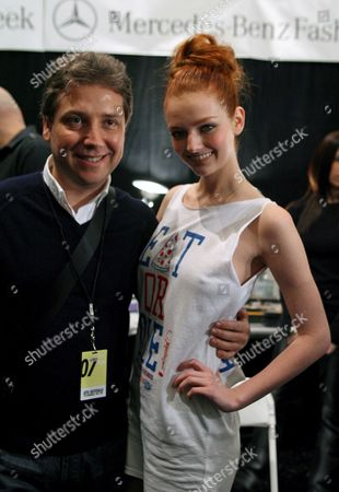 Turkish Fashion Designer Atil Kutoglu (l) Poses with Super Model Lydia Hurst Backstage Before the Start of His Show During the Fall 2007 Mercedes- Benz Fashion Week in New York Saturday 03 February 2007