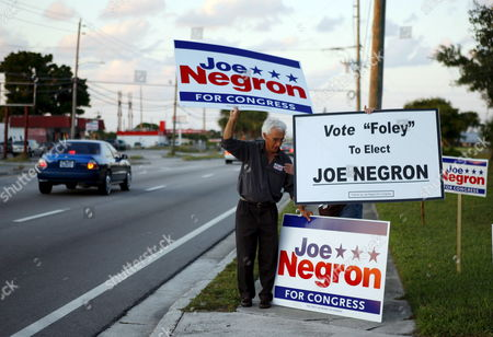 Supporters For Congressional Candidate Joe Negron For the 16th District in Florida Rally Outside of the Site For the Debate Between Republican Joe Negron and Democrat Jim Mahoney Thursday 26 October 2006 Candidate Negron is Running On the Ticket in Place of Former Congressman Mark Foley Who Resigned at the End of September 2006 On Charges of Improper Activities with Congressional Pages