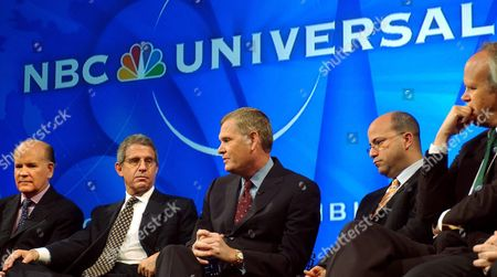 Bob Wright (at Far Left) the Vice Chairman of General Electric and Now Chairman and Chief Executive Officer of Nbc Universal is Seen During the Announcment of the Merger of Nbc and Vivendi Entertainment Into Nbc Universal During a Press Conference at Nbc Studios in New York City Wednesday 12 May 2004 Joining Him On Stage Are From 2nd From Left Ron Meyer President and Coo of Universal Studios Randy Falco President of Nbc Universal Television Networks Group Jeff Zucker President of Nbc Universal Television Group and Dick Ebersol Chairman of Nbc Universal Sports and Olympics the New Company is Expected to Bring in Revenues in 2005 of $15 Billion Epa/justin Lane Epa Photo/epa/justin Lane