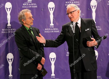 Herb Alpert (l) and Jerry Moss (r) Founders of A&m Records Pose For Photographers Backstage After Being Inducted Into the Rock and Roll Hall of Fame Induction Ceremonies at the Waldorf-astoria Hotel in New York City Monday