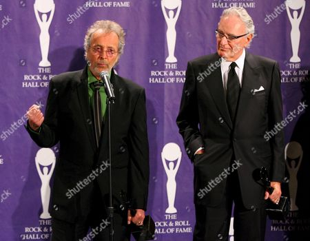 Retransmission Adding Date Herb Alpert (l) and Jerry Moss (r) Founders of A&m Records Pose For Photographers Backstage After Being Inducted Into the Rock and Roll Hall of Fame Induction Ceremonies at the Waldorf-astoria Hotel in New York City Monday 13 March 2006 Black Sabbath Blondie and the Sex Pistols Were Also Inducted in This Year's Ceremony