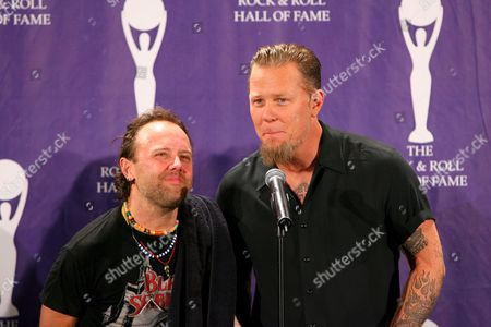 Stock Picture of Members of the Rock Group Metallica (l-r) Lars Ulrich and James Hatfield Pose For Photographers Backstage After They Introduced the Band Black Sabbath at the Rock and Roll Hall of Fame Induction Ceremonies at the Waldorf-astoria Hotel in New York City Monday 13 March 2006 Black Sabbath Blondie and the Sex Pistols Were Inducted in This Year's Ceremony