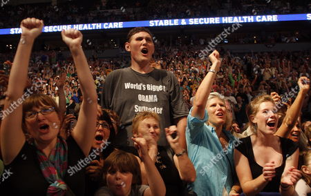 Seven-foot Eight-inch Tall Igor Vovkovinskiy As President Obama Addresses Thousands On the Issue of Health Care During Inside the Target Center in Minneapolis Minnesota Usa 12 September 2009