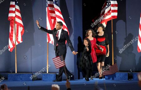 Democratic Presidential Candidate Barack Obama Walks Onstage with His Family (l-r) Natasha Malia and His Wife Michelle As They Arrives to Address a Crowd at Grant Park in Chicago Illinois Usa to Celebrate His Victory On Election Day 04 November 2008 Obama Defeated Republican Presidential Candidate John Mccain to Become the 44th President of the United States and the First Black President in Us History