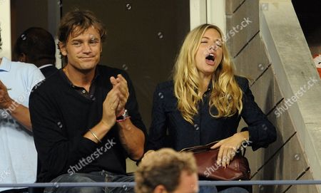 Actress Sienna Miller Sits with George Barker Also Known As Dj Slinky Wizard During the Fifth Day of the 2009 Us Open Tennis Championship at the Usta National Tennis Center in Flushing Meadows New York Usa 04 September 2009 the Open Runs Through 13 September 2009
