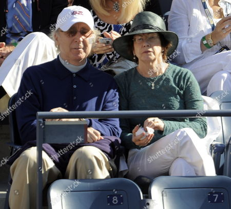 Us Actor Gene Wilder and His Wife Karen (r) Watch Roger Federer of Switzerland Play Juan Martin Del Potro of Argentina in the Men's Final at the 2009 Us Open Tennis Championship at the Usta National Tennis Center in Flushing Meadows New York Usa 14 September 2009