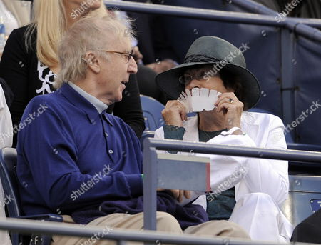 Us Actor Gene Wilder and His Wife Karen (r) Chat As They Watch Roger Federer of Switzerland Play Juan Martin Del Potro of Argentina in the Men's Final at the 2009 Us Open Tennis Championship at the Usta National Tennis Center in Flushing Meadows New York Usa 14 September 2009
