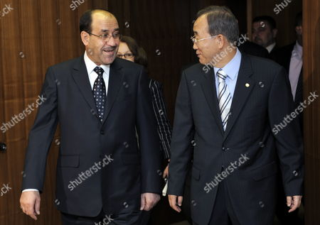 Nouri Kamil Al-maliki (l) Prime Minister of Iraq Arrives with United Nations Secretary General Ban Ki-moon at the For a Meeting at United Nations Headquarters in New York New York Usa On 22 July 2009
