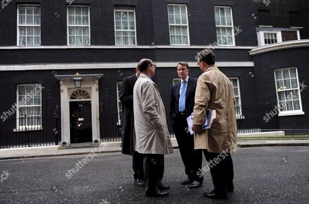 Business Secretary Lord Mandelson (2nd R) Talks to Political Correspondents in Downing Street in London 05 June 2009 Defence Secretary John Hutton Quit the Government 05 June Although He Says He Will Remain Loyal to Gordon Brown It Comes After James Purnell Quit As Work and Pensions Secretary with a Call For the Pm to 'Stand Aside' to Prevent Defeat at the Next Election Mr Brown is Reshuffling His Top Team As He Fights For His Political Future