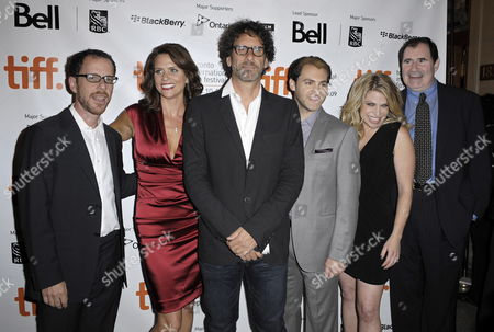 (l-r) Director Ethan Coen Actor Amy Landecker Director Joel Coen and Actors Michael Stuhlbarg Sari Lennick and Richard Kind Pose On the Red Carpet For a Screening of Their Film 'A Serious Man' at the 34th Annual Toronto International Film Festival in Toronto Canada On 12 September 2009