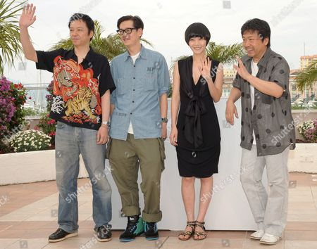 L-r Actors Itao Itsuji Arata Bae Doo-na and Director Kore-eda Hirokazun Attend a Photocall For the Japonese Film 'Kuki Ningyo' (air Doll) by Kore-eda Hirokazun Running out of Competition For the 62nd Edition of the Cannes Film Festival in Cannes France 14 May 2009