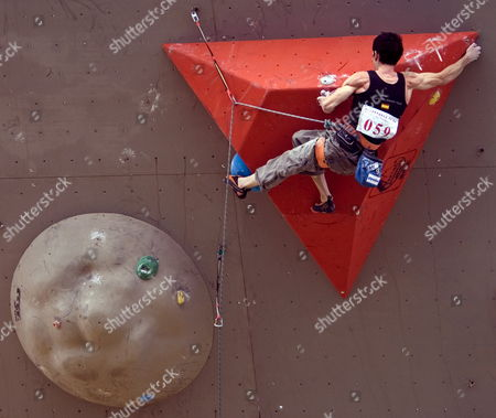 Spain's Patxi Usobiaga in Action During the Men's Lead Final at the Ifsc Climbing World Championship 2009 in Xining China's Qinghai Province 05 July 2009 Usobiaga Won the World Championship Followed by 16-year-old Adam Ondra of Czech Republic in Second Place and Austria's David Lama in Third