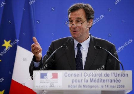 French Deputy Renaud Muselier Gives a Speech at Matignon in Paris France 14 May 2009 to Present and to Launch the Cultural Council of Union For the Mediterranean the Union For the Mediterranean is a Community Initiated On 13 July 2008 by French President Nicolas Sarkozy As a Development of the Euromediterranean Partnership the Act Unites All Eu Members with Several Non-eu Countries That Border the Mediterranean Sea
