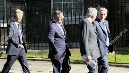 Fred Goodwin, CEO of RBS, Royal Bank of Scotland (right) leads bank chiefs from  Downing Street