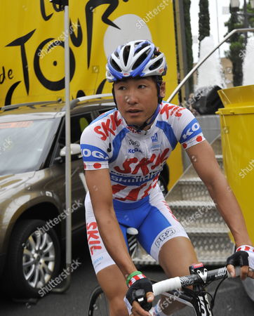 Skil-shimano Team Rider Fumiyuki Beppu of Japan Arrives to Sign the Book Before the Start of the 7th Stage of the Tour De France Cycling Race in Barcelona Spain 10 July 2009