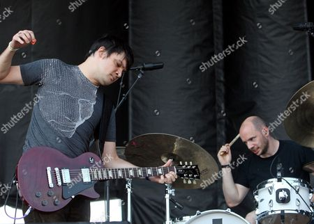Conrad Keely (l) and Aaron Ford (r) of the Us Band Trail of Dead Perform On Stage at the All Points West Music Festival in Liberty State Park in Jersey City New Jersey Usa 01 August 2009