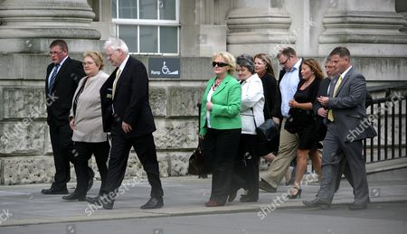 Michael Gallagher (third From Left) Who Lost His Son Aiden in the Omagh Bomb Arrives at Belfast High Court June 8th 2009 with Other Family Members Judgement is Expected Later in the Multi-million Pound Civil Case Brought by the Families of Some of the Omagh Bomb Victims Mr Justice Morgan Will Give His Verdict Against Five Men Being Sued Over the 1998 Real Ira Atrocity No-one Has Ever Been Convicted For the August 1998 Bomb Which Killed 29 People - Plus Unborn Twins in a Lawsuit Which Made Legal History Some of the Bereaved Are Seeking an Order For Damages They Claim the Five Men Including Jailed Dissident Republican Chief Michael Mckevitt Can All Be Held Responsible Each Has Denied Liability