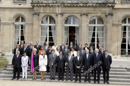 French President Nicolas Sarkozy with the junior and female members of his government's cabinet.  LtoR, First row : Xavier Bertrand (M. Labour, Social Relations and Solidarity), Rachida Dati (M. Justice), Christine Lagarde (M. Economy, Finance and Employment), Michele Alliot-Marie (M. Interior, Overseas Departments and Territorial Administration), Francois Fillon, President Nicolas Sarkozy, Jean-Louis Borloo (M. Ecology, Sustainable Development and Planning), Bernard Kouchner (M. Foreign and European Affairs), Brice Hortefeux (M. Immigration, Integration, National Identity and Co-Development), Michel Barnier (M. Agriculture and Fisheries), Xavier Darcos (M. National Education), 2nd row : Valerie Letard (JM. Solidarity), Laurent Wauquiez (JM. government spokesman), Roger Karoutchi partially hidden (JM. Relations with parliament), Christine Albanel (M. Culture and Communication), Roselyne Bachelot-Narquin (M. Health, Youth and Sports), Valerie Pecresse (M. Higher Education and Research), Herve Morin (M. Defence), Christine Boutin (M. Housing and Urban Affairs), Eric Woerth (M. Budget, Public Finances and Public Service), Jean-Pierre Jouyet (JM. European and foreign affairs), Eric Besson (JM. Assessing public policy), 3rd row : Luc Chatel (JM. Consumer affairs and tourism), Alain Marleix (JM. Veterans' affairs), Fadela Amara (JM. Urban affairs), Herve Novelli (JM. Foreign trade and business), Andre Santini (JM. Public sector), Nathalie Kosciusko-Morizet (JM. Environment), Dominique Bussereau (JM. Transport), Christian Estrosi (JM. Overseas matters), last row : Martin Hirsch (High commissioner responsible for fighting poverty), three are unseen, and Rama Yade (JM. Foreign affairs and human rights)