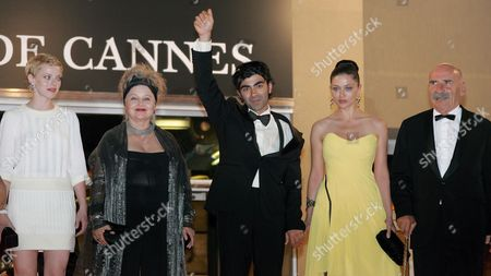 (l-r) Polish Actress Patrycia Ziolkowska German Actress Hanna Schygulla Turkish Director Fatih Akin Turkish Actress Nurgul Yesilcay and Turkish Actor Tuncel Kurtiz Leave the Festival Palace After a Gala Screening of Turkish Director Fatih Akin's Film 'The Edge of Heaven' ('auf Der Anderen Seite') Running in Competition at the 60th Cannes Film Festival 23 May 2007 in Cannes France